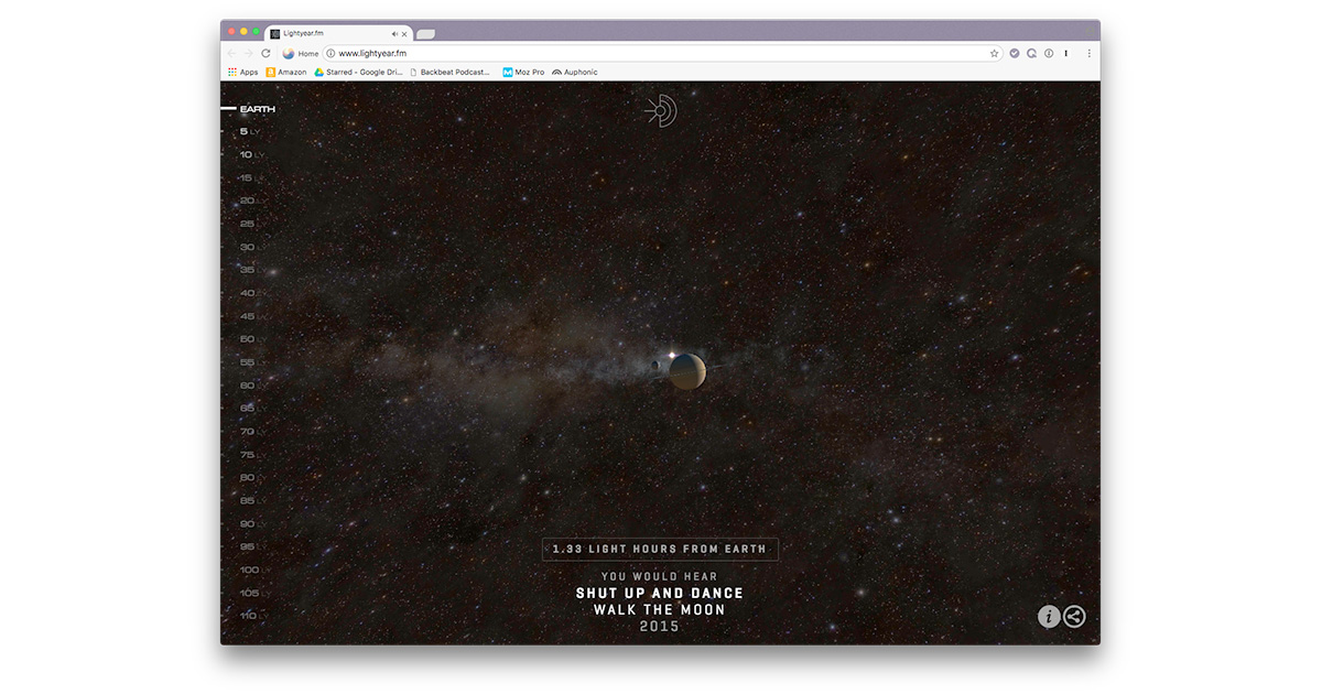 Lightyear.fm Shows How Deep into Space Our Songs Have Traveled