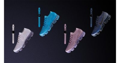 Nike Day to Night VaporMax Flyknit running shoes and matching Apple Watch bands