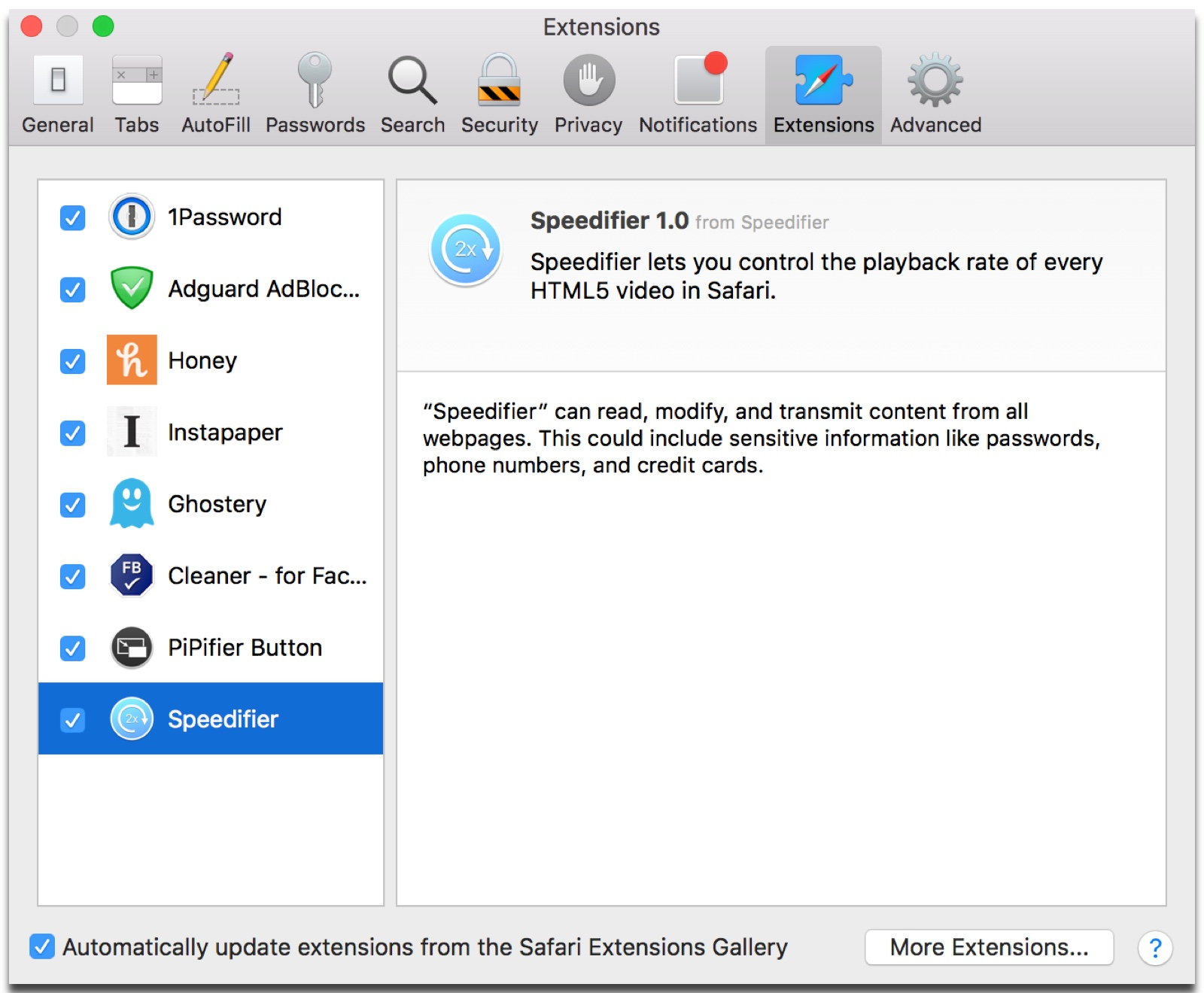 Enabling the Speedifier extension in Safari to control video speed.