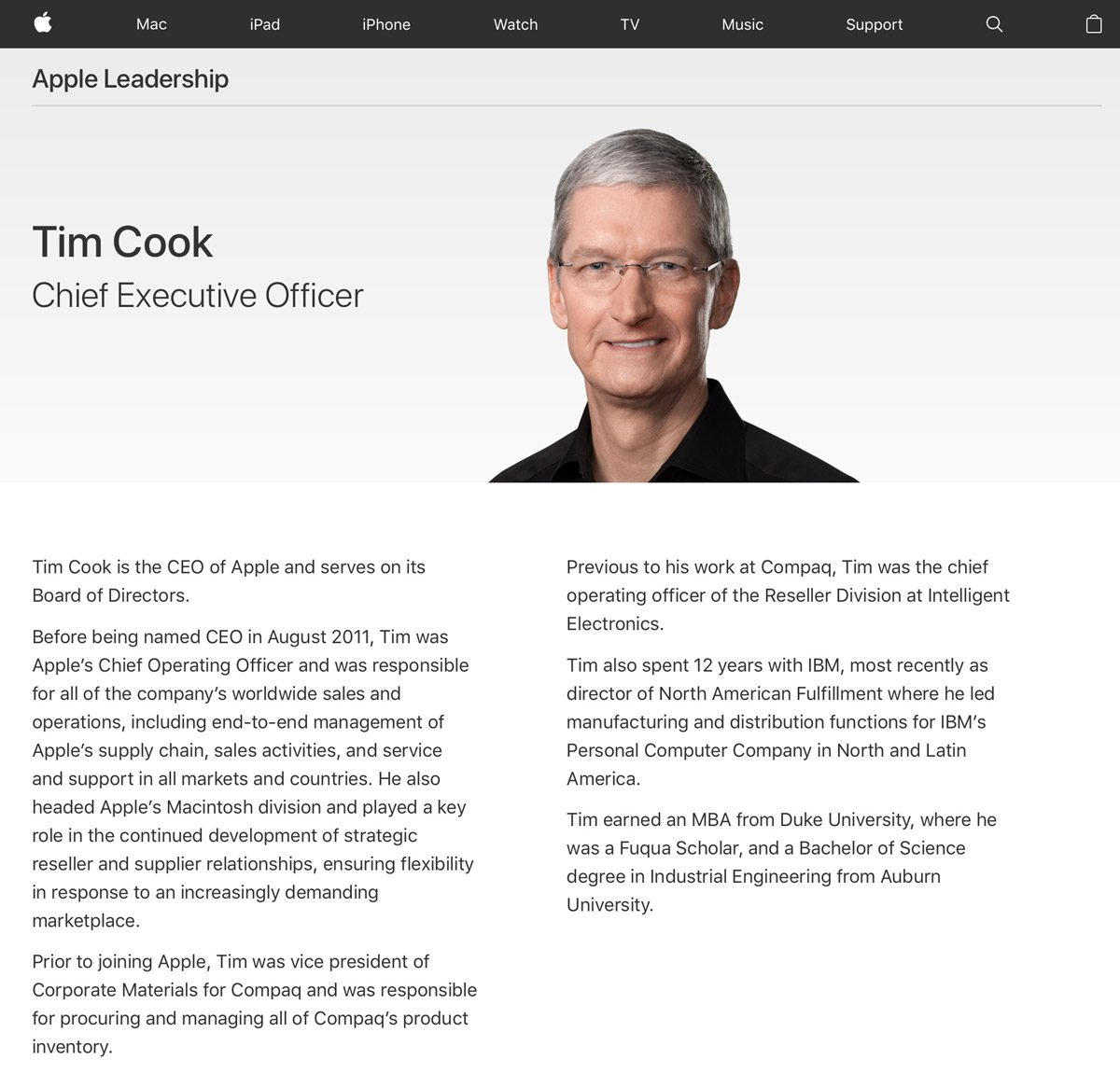 Apple CEO Tim Cook Profile