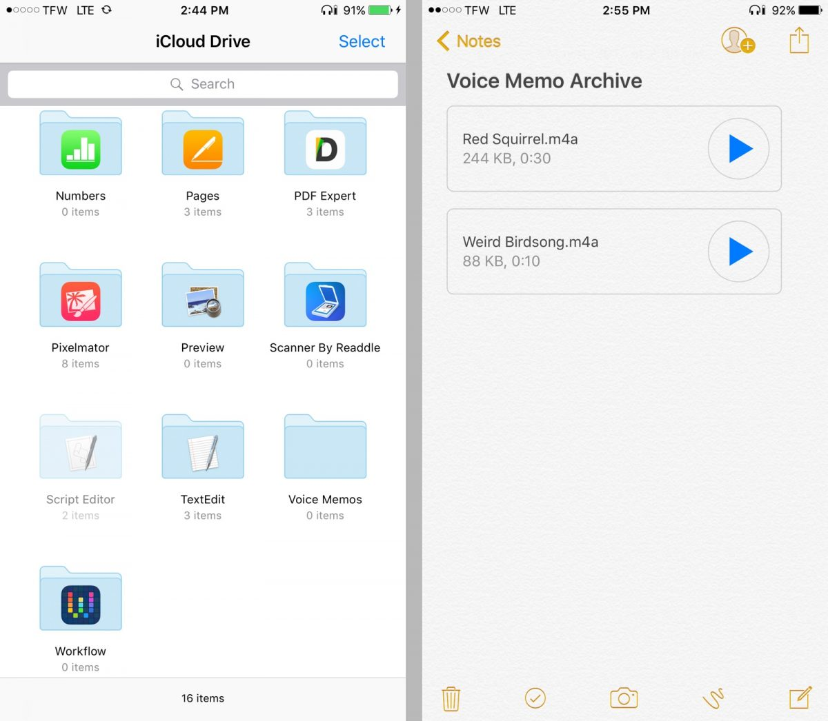 Back up voice memos in notes and iCloud Drive.