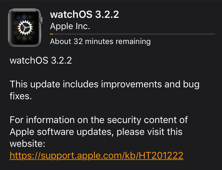 watchOS 3.2.2 Patch Notes