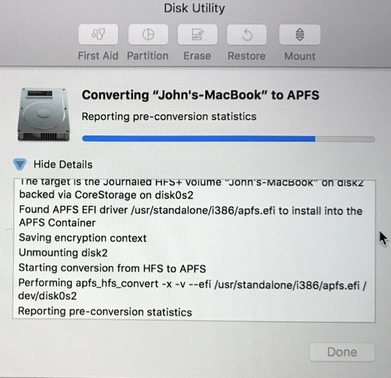 APFS conversion progress on MacBook SSD