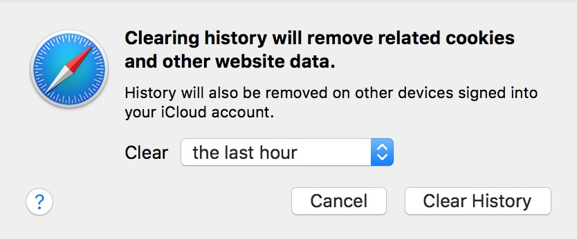 Safari's Clear History option lets you choose how much of your browser history gets deleted