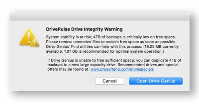 Drive Genius alerts you before the problem becomes crippling.
