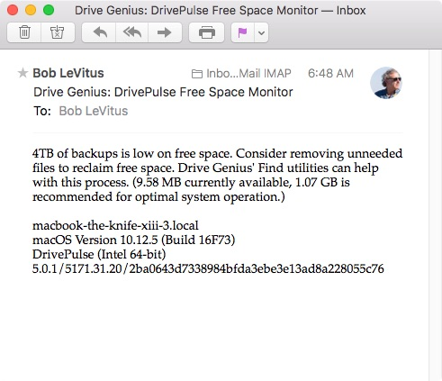 This is the DrivePulse email alert I received...