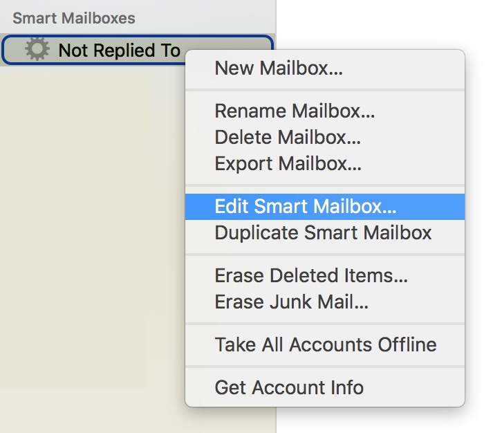 Right-click Smart Mailboxes in Mail to see the Edit Contextual Menu