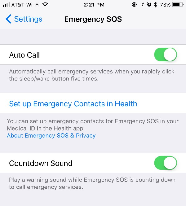 Enabling Countdown Sound in Emergency SOS