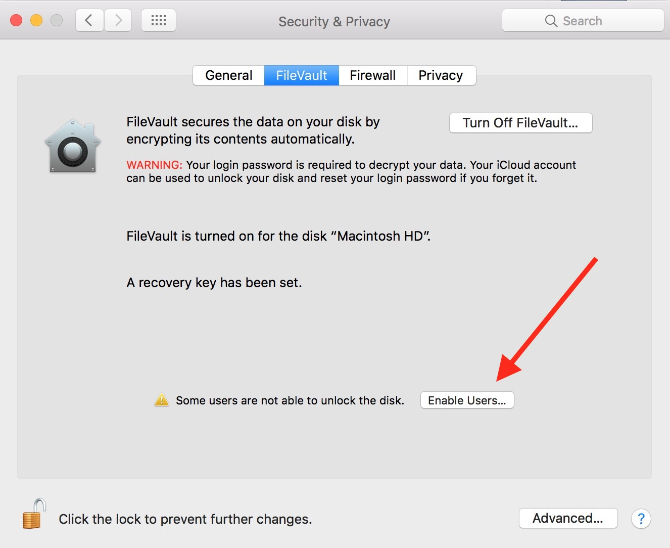 FileVault's Enable Users Button for allowing all administrator accounts to unlock your encrypted Mac drive
