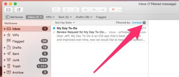 Filter unread email messages in Mail - hidden macOS features