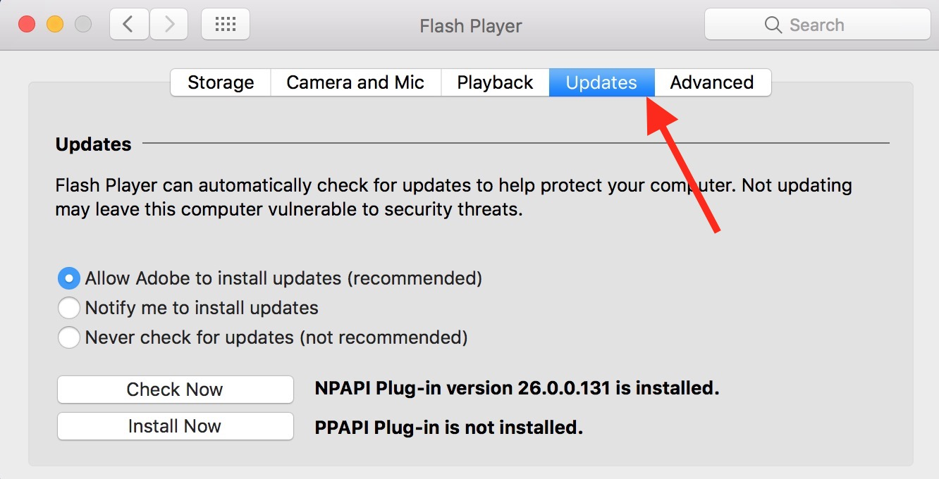 The Flash settings Updates Tab shows which version is installed