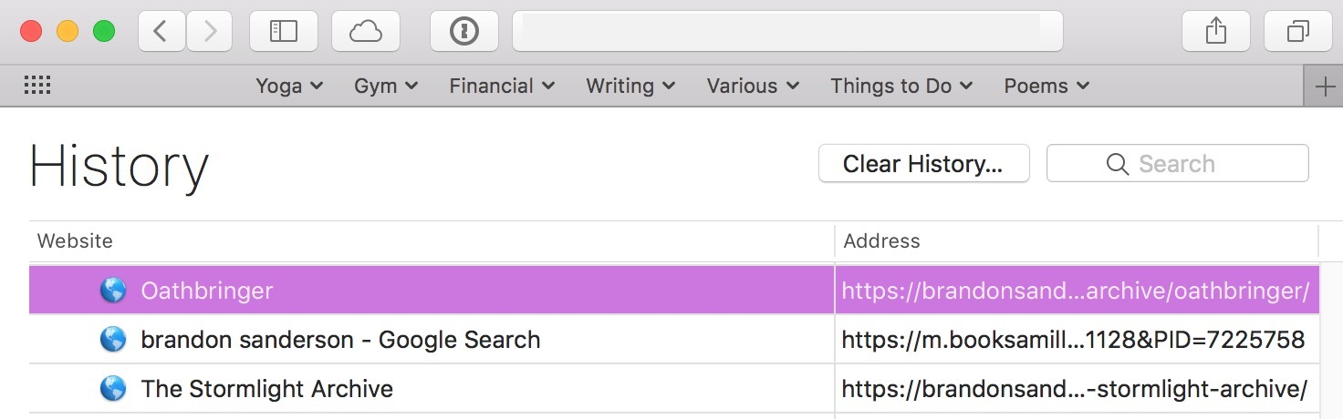 Select just the site you want to remove from Safari's browser history and tap the Delete key