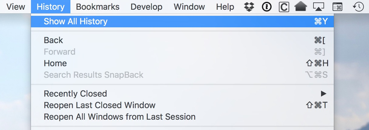 Use the Show All History option to selectively remove sites from Safari's browser history