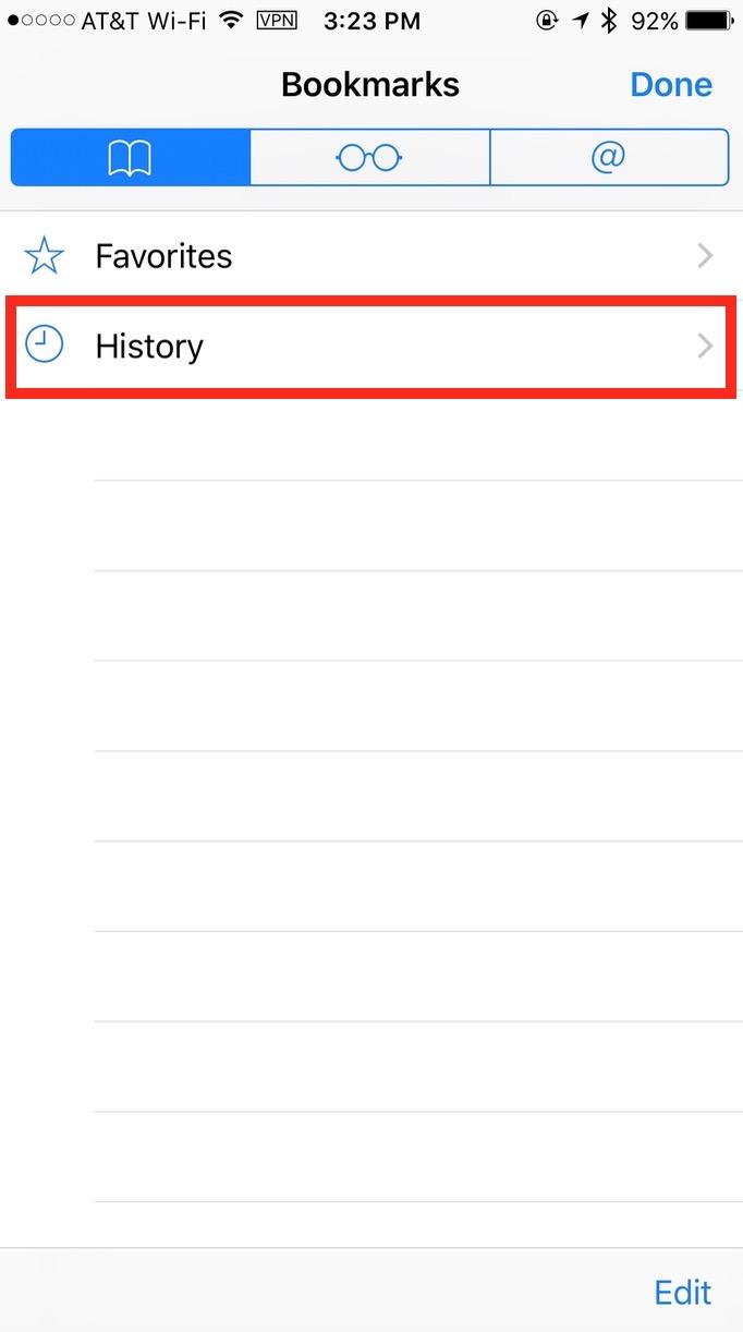 Mobile Safari's browser History category