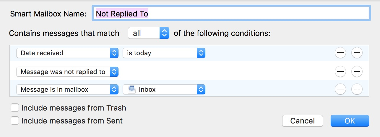 Adding more criteria to the Smart Mailbox filter helps limit where it searches for messages without replies