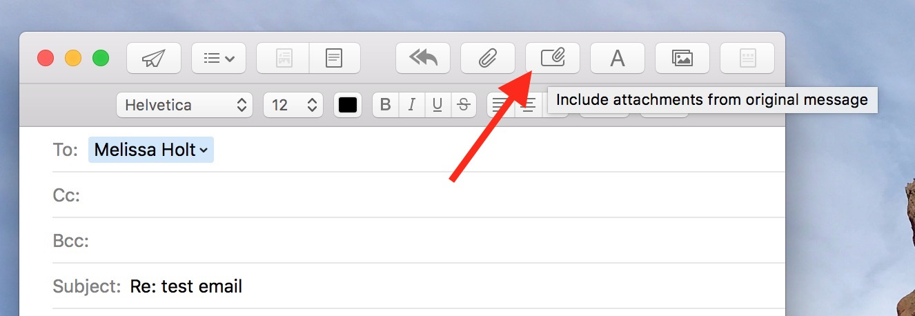 Include Attachments Button in Mail lets you keep attached files from incoming messages in your replies