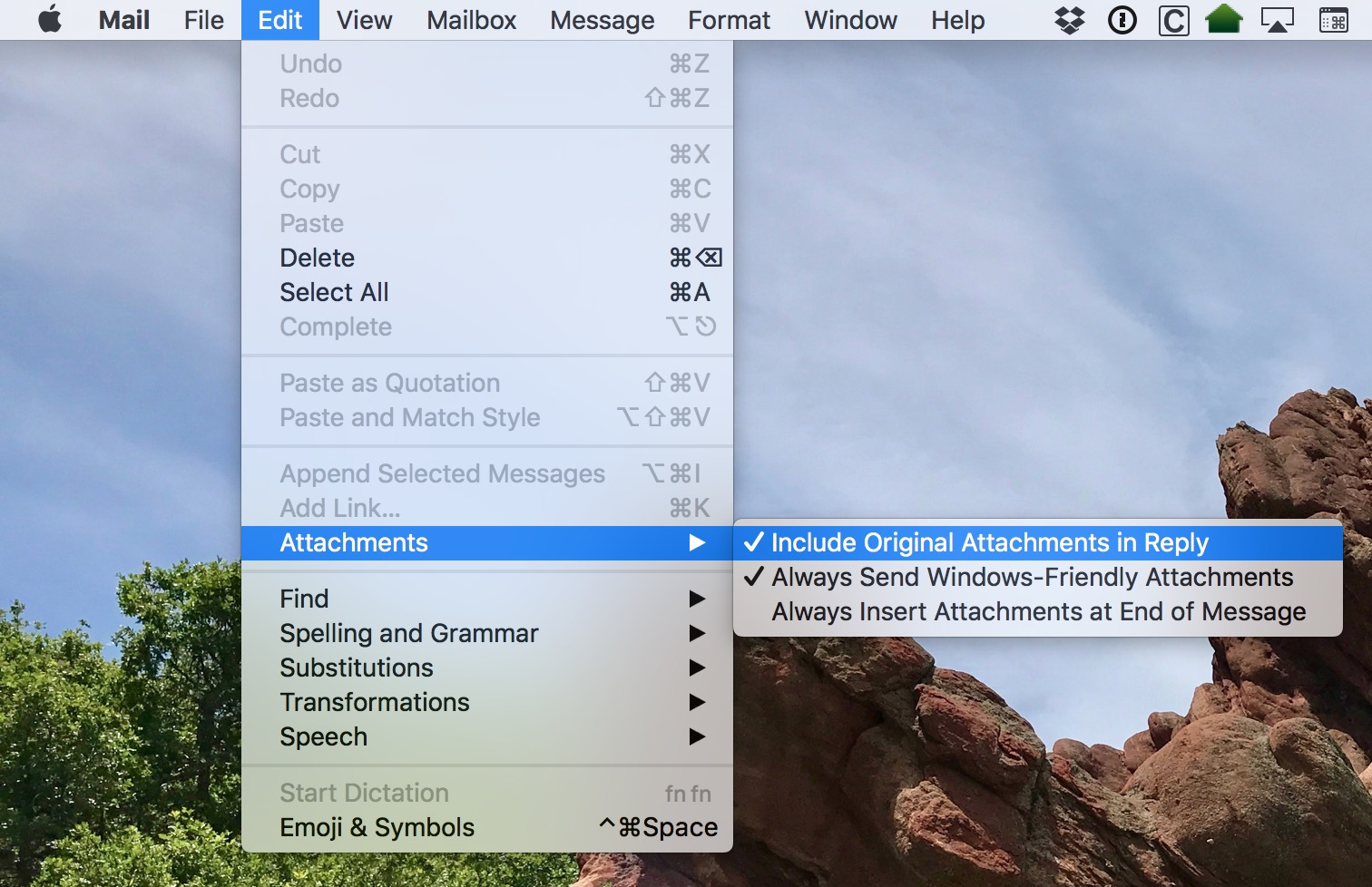 The Mail Edit Menu lets you include attachments in replies as a default