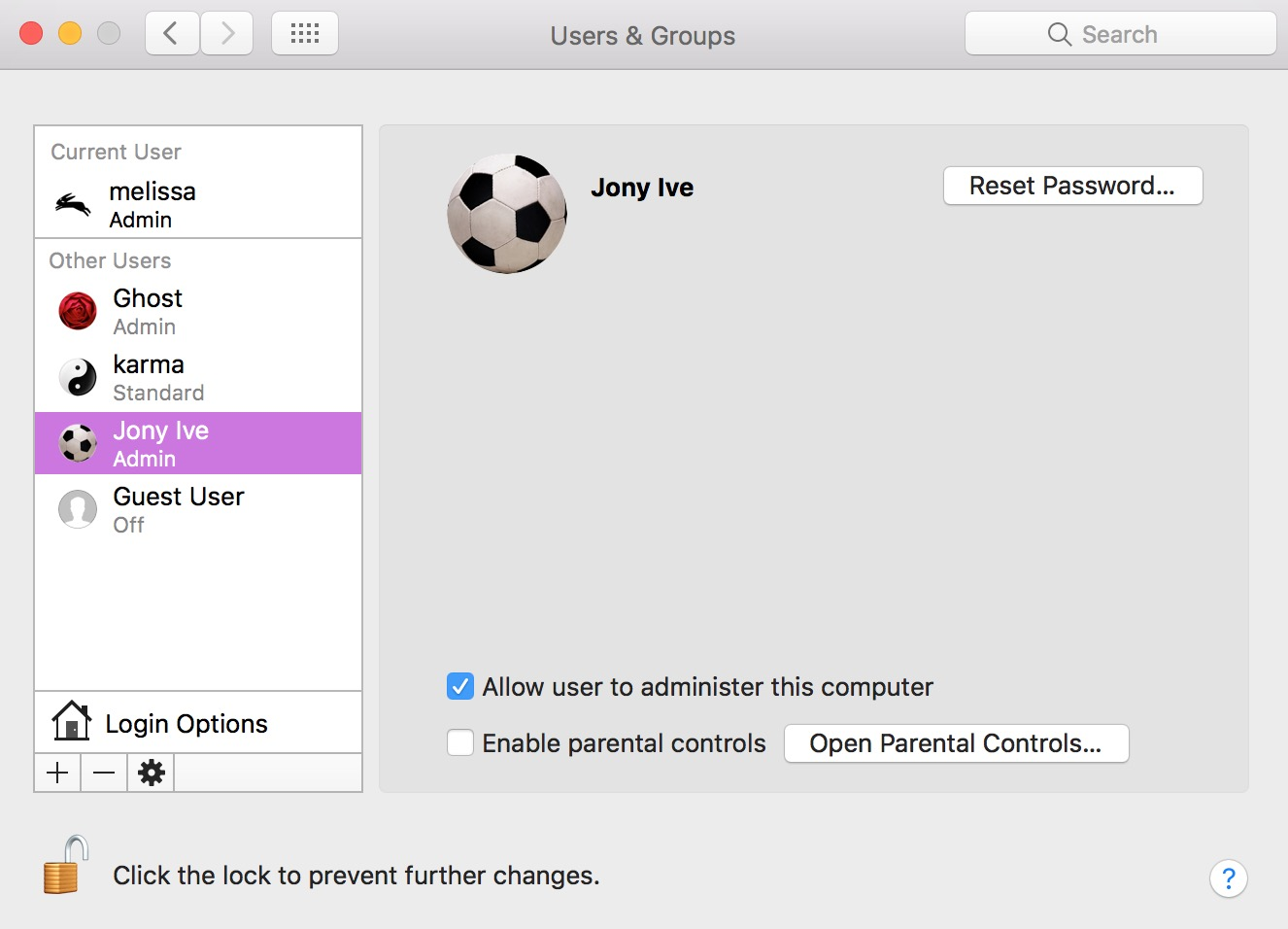 You can see which accounts have administrator access in the macOS Users & Groups System Preferences