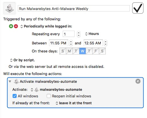 Keyboard Maestro macro to make Malwarebytes Anti-Malware scan automatically