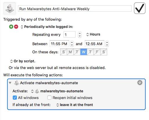 Keyboard Maestro macro to make Malwarebytes Anti-Malware scan automatically