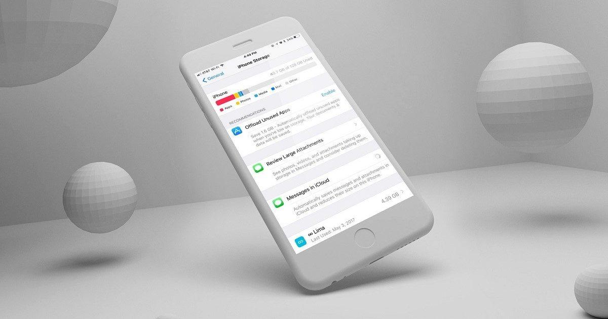 manage storage on iOS 11