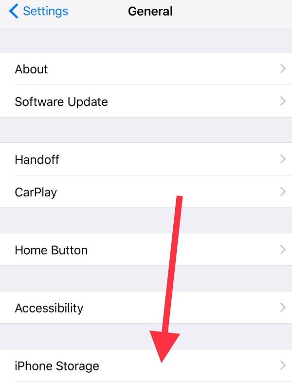 Manage Storage on iOS 11 From Settings