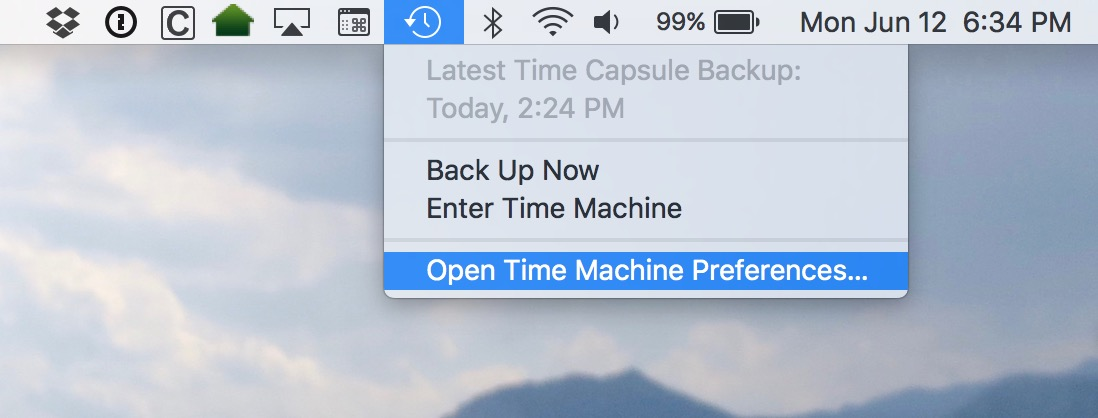 Open Time Machine Preferences to see Time Capsule storage