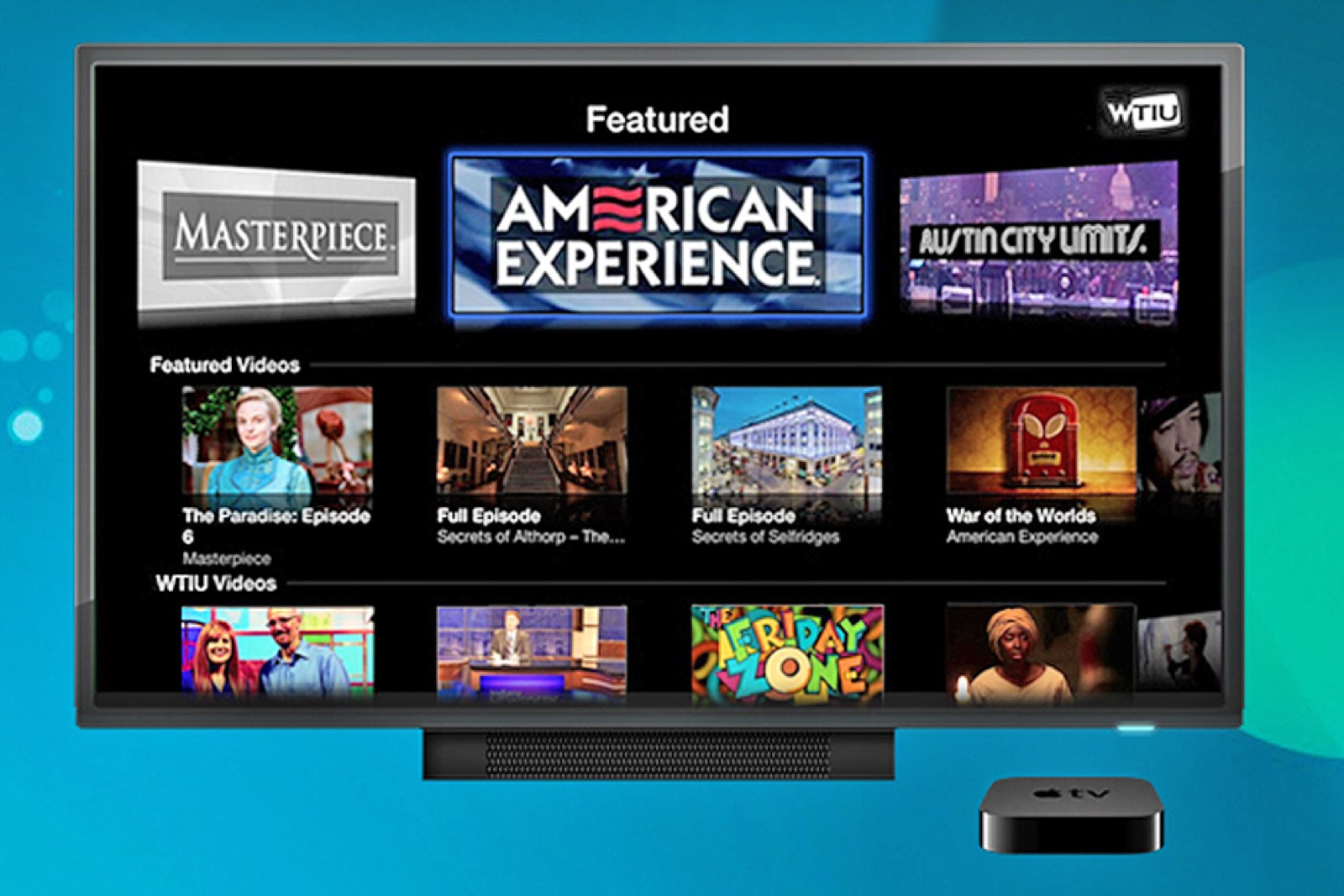 Image of different PBS channels on the Apple TV.