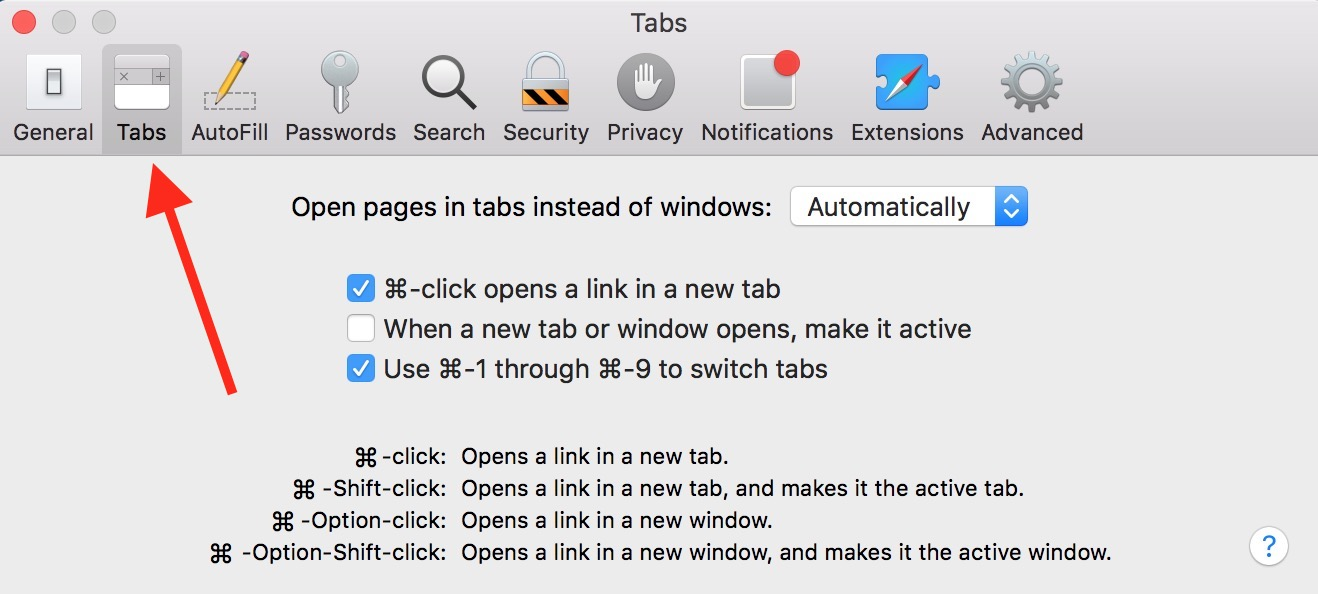 Use Safari's Tabs Preferences to set what happens when using modifier keys