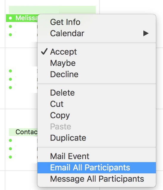Right-click Calendar events to email or message all participants