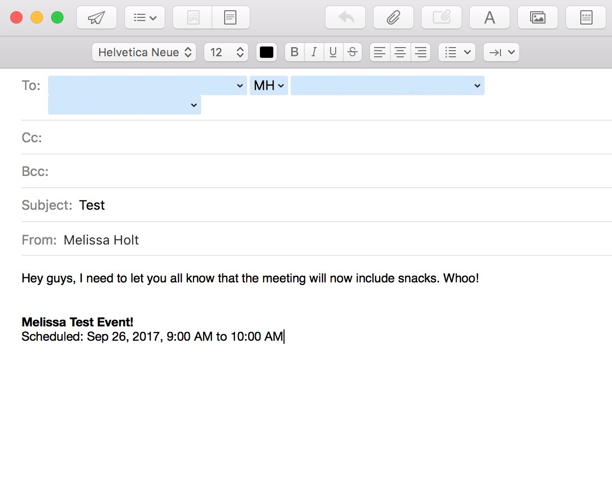 Email All Participants from Calendar events creates an new Mail message with email addresses and event information already filled in