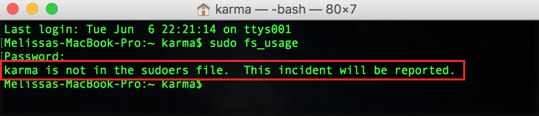Terminal Window with Warning showing non-admin users can't use sudo commands
