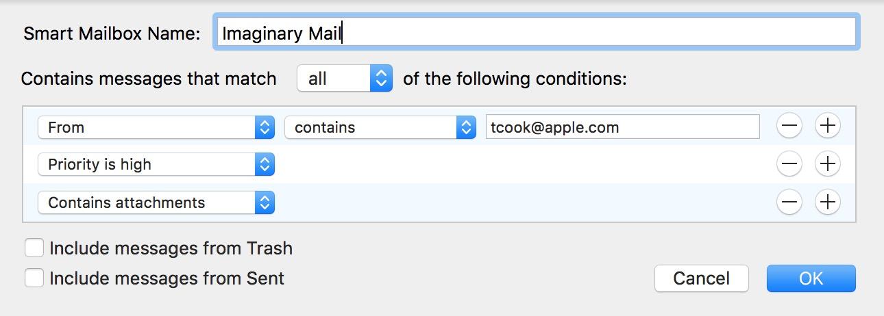 Add search criteria to the Smart Mailbox to control which email messages it shows