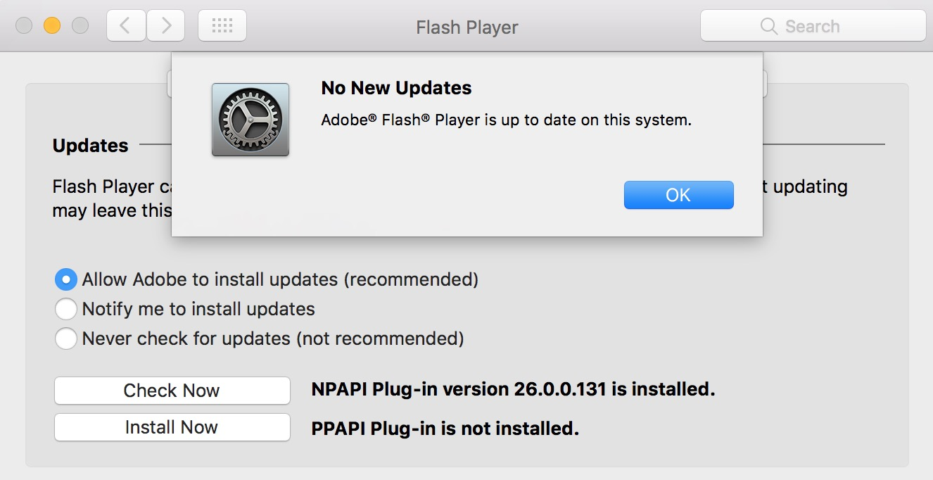 If a Flash update is available it'll show when you click Check Now or you'll see No New Updates instead