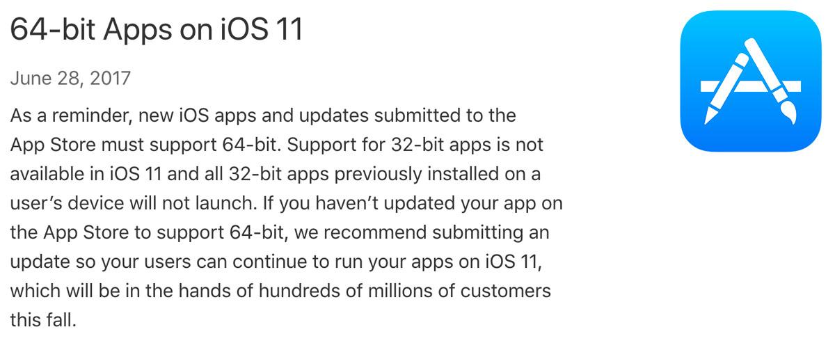 apple 64 bit ios 11
