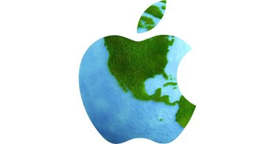 Apple logo as a green planet