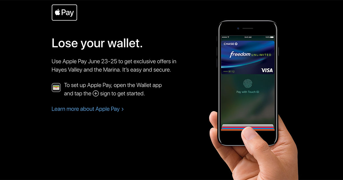 "Apple Pay ""Lose your wallet"" promotion coming to San Francisco"