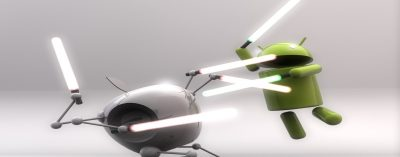 Apple and Android fighting with laser swords