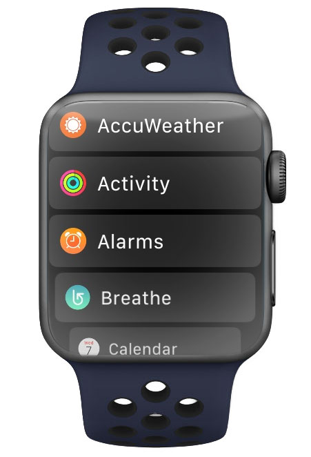 List View sorts your Apple Watch apps alphabetically