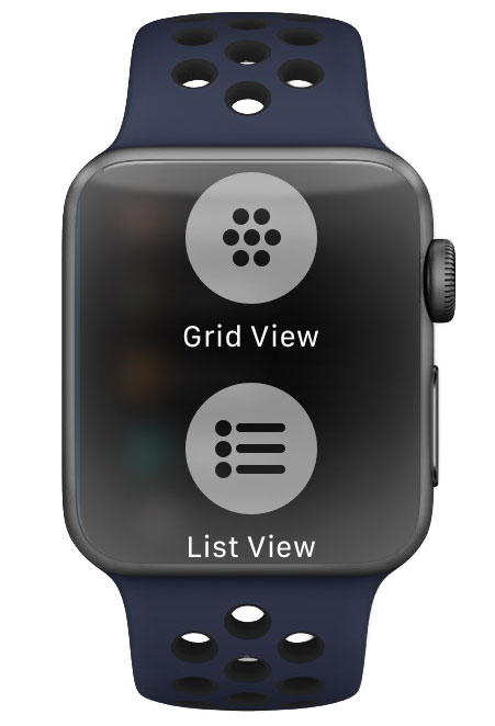 Choose list view or honeycomb app grid view from Apple Watch settings