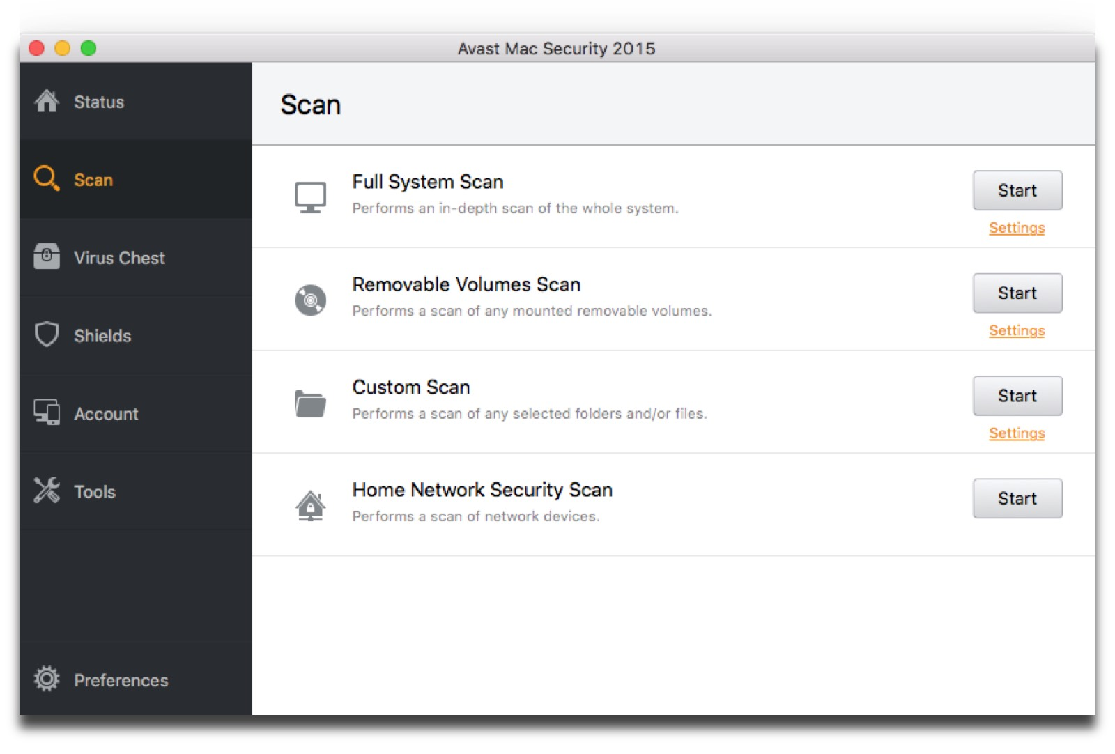 Screenshot of avast, one of the Mac security tools we recommend.