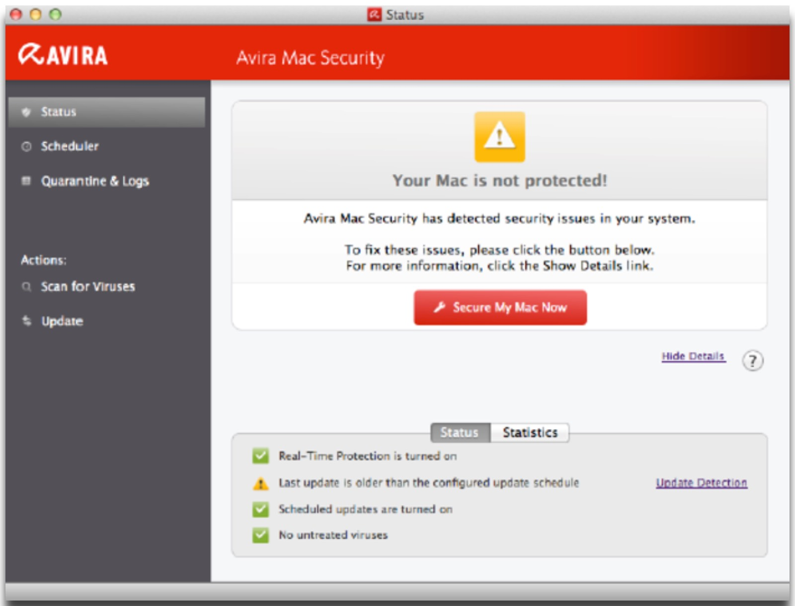 Screenshot of Avira, one of the Mac security tools we recommend.