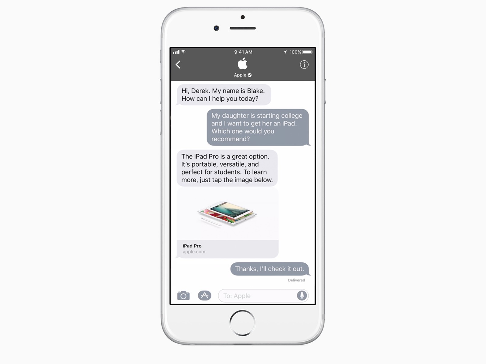 Screenshot of a customer interaction with Apple in iMessage as part of Apple Business Chat.