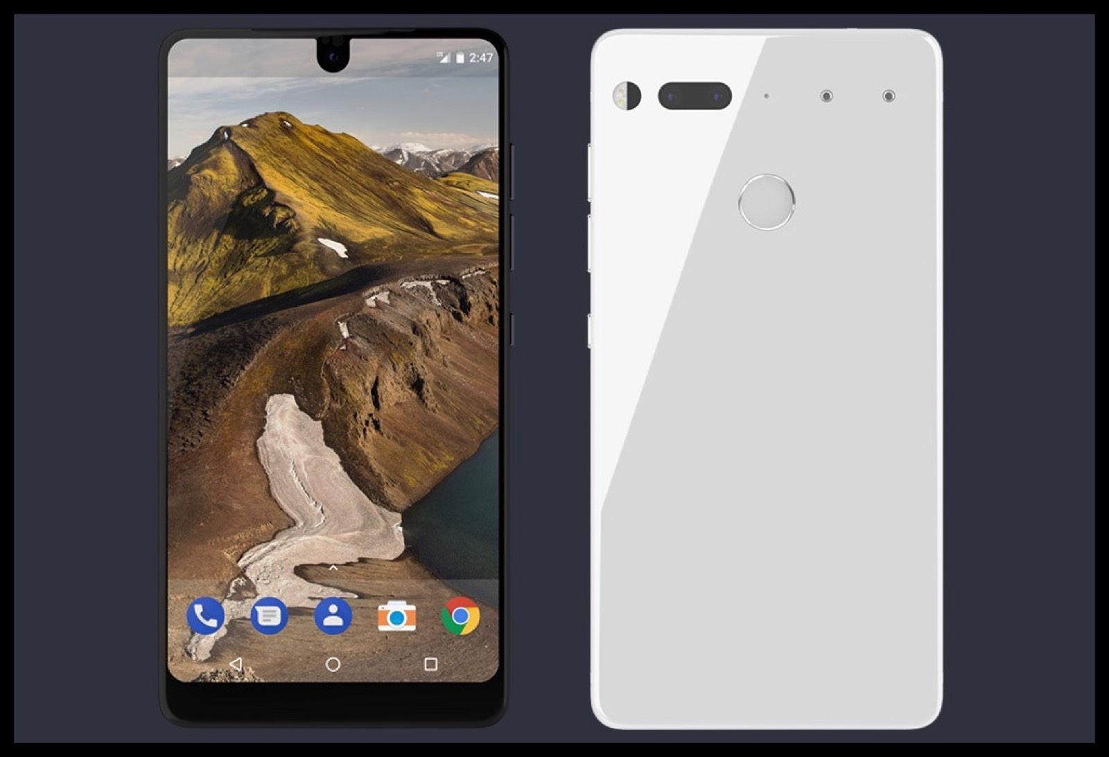 Image of the new Essential Android phone, which has a black notch like the latest iPhone 8 mockup.