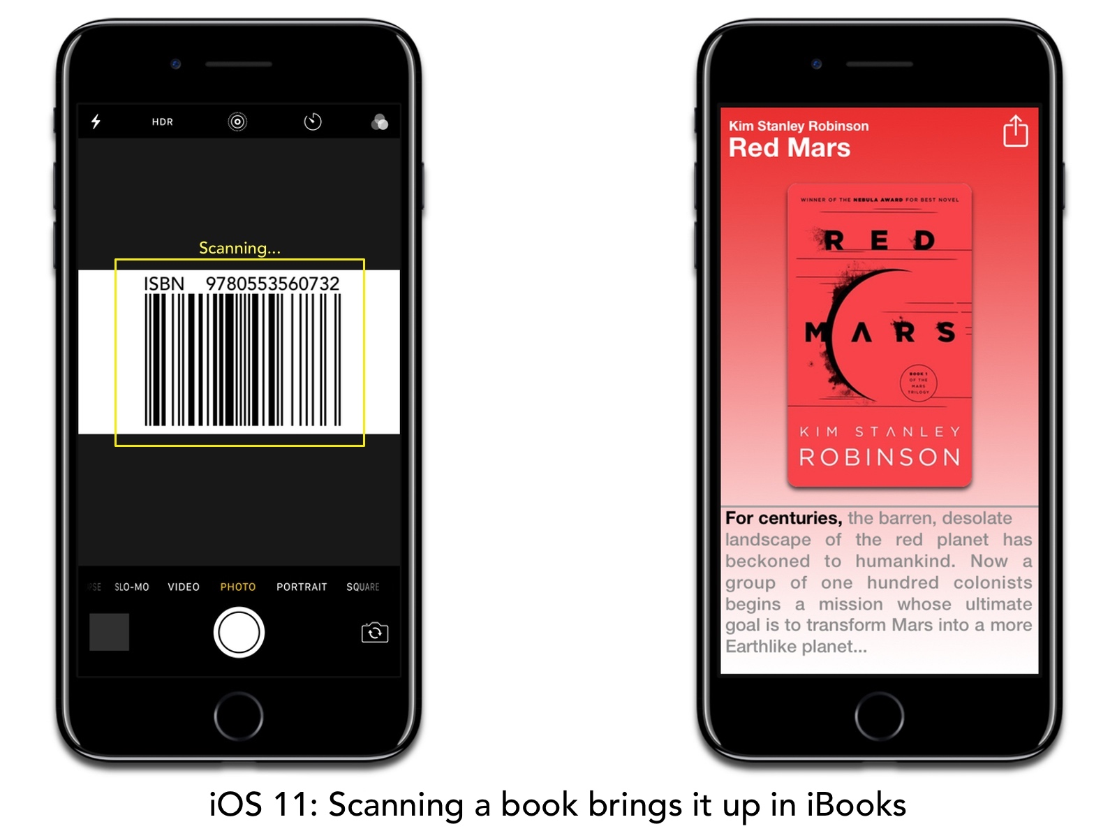 Concept image of iBooks in iOS 11 with URL scanning.