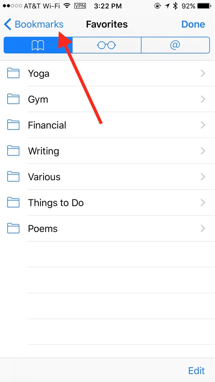 Tap the Bookmarks back button to see your browser history in Mobile Safari
