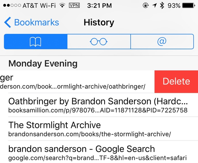 Swipe from right to left to Remove Single History Item in Mobile Safari