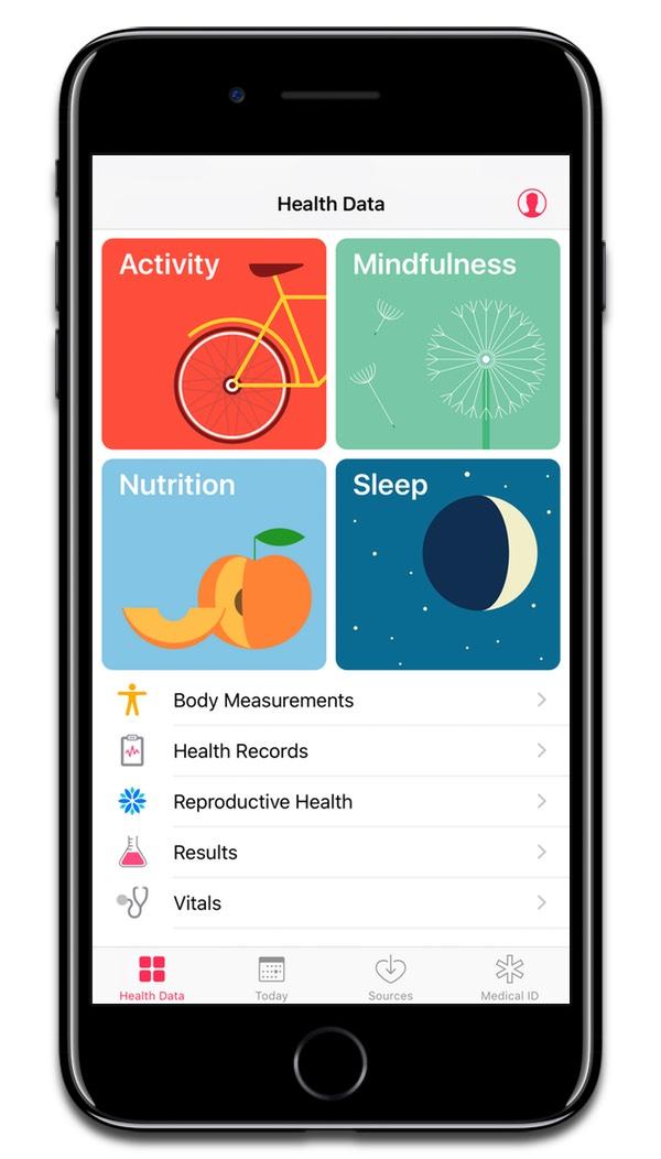 Screenshot of iOS health app. Apple might create a custom health chip.
