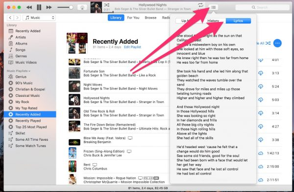 Lyrics in iTunes - hidden macOS features