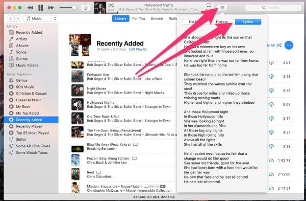 Lyrics in iTunes - hidden macOS features